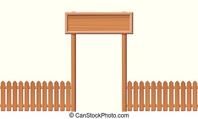 入口, 門, 木製のフェンス, 空白のサイン