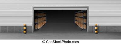入口, 開いた, 倉庫, 現実的, ベクトル, 3d