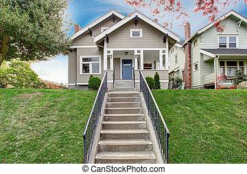 入口, 階段, ポーチ, 家, exterior., 光景
