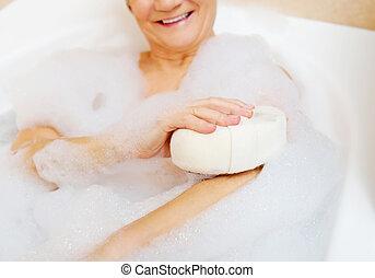 入浴, 女性がリラックスする, ∥で∥, スポンジ