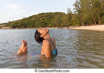 入浴, 女, 浜