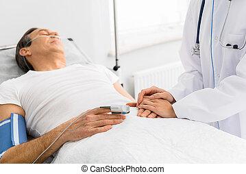 內科醫生, 關心, ......的, 平靜, 病, 人