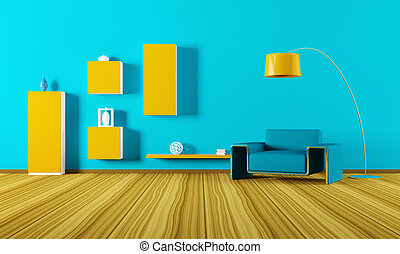 內部, 客廳, render, 3d