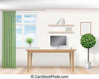 內部, 桌子, 工作房間