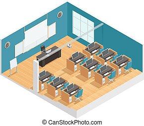 內部, 海報, ......的, 現代, 教室