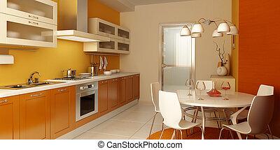 內部, 現代, 廚房