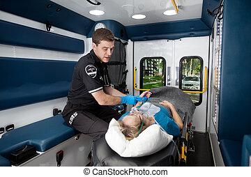 內部, 病人, 救護車