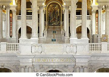 內部, ......的, 圖書館, 國會, 在, 華盛頓特區