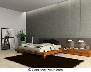 內部, ......的, 現代, 寢室, 3d, rendering