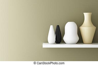 內部, ......的, 黃色, 赭石, 牆, 以及, 陶瓷, 上, 架子, 裝飾, 3d, rendering