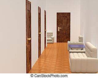 內部, ......的, a, corridor., 等待, room., 3d, image.