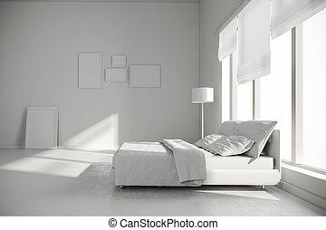 內部, 3d, render, 寢室