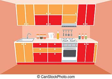 內部, furniture., 廚房