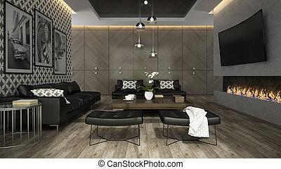 內部, rendering, 牆紙, 房間, 生活, 4, 時髦, 3d