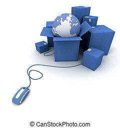 全世界, 藍色, 發貨, 在網上