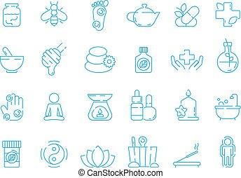 全体, セット, 線である, 薬, ビタミン, 伝統的である, 草, ベクトル, symbols.,...
