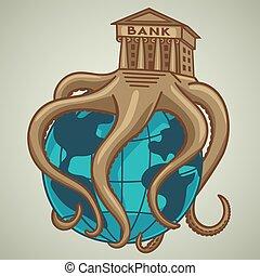 全体, globe., システム, 銀行業, 持つ, タコ, 捕獲される