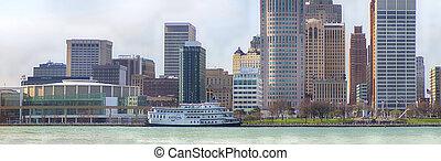 全景的見解, ......的, 市區, 底特律, 由于, 辦公樓, 忽略, the, 財政地區