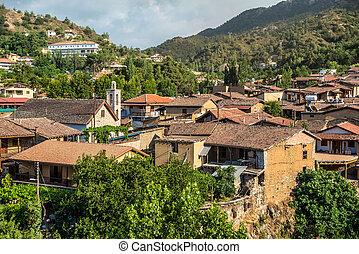 全景的見解, ......的, kakopetria, village., nicosia, 地區, 塞浦路斯