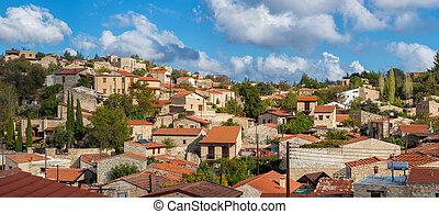 全景的見解, ......的, lofou, a, 著名, touristic, 村莊, 在, cyprus., l