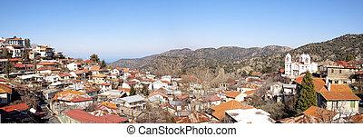 全景的見解, ......的, pedoulas, 村莊, 著名, touristic, 村莊, 在, 塞浦路斯