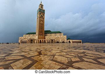 全景, 在中, the, 前面, 在中, hassan ii清真寺, 在中, 卡萨布兰卡, 摩洛哥