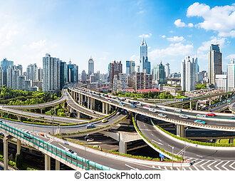 全景, 城市, 提高, 天橋