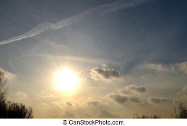 全景, 天空, 太陽