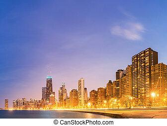 全景, 密執安, 湖, 芝加哥