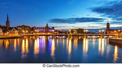 全景, 斯德哥爾摩, 晚上, 瑞典