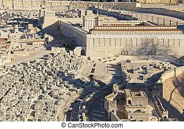 全景, 模型, ......的, 古老, 耶路撒冷