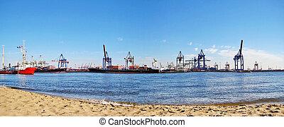 全景, 港口, /, 德國, 漢堡, 港口