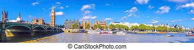 全景, ......的, 大本鐘, 由于, 橋梁, 在, 倫敦, england, 英國