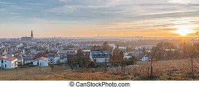 全景, 看法, ......的, regensburg, 在, 日落, 在, 冬天