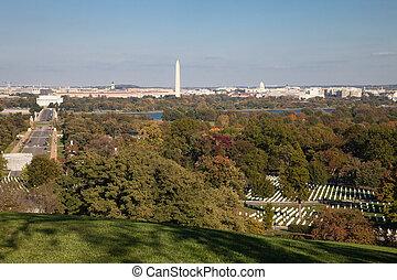 全景, 空中, -, 華盛頓特區, 小山, arlington, 看法