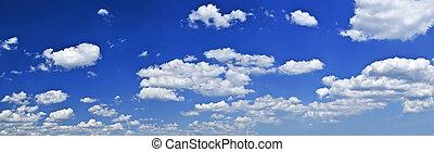 全景, 藍色的天空, 由于, 白色的云霧