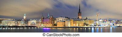 全景, 都市風景, ......的, gamla stan, 斯德哥爾摩, 瑞典
