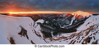 全景, 風景, 斯洛伐克, 冬天, 山
