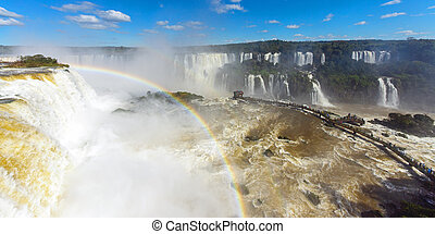 全景, iguazu, 瀑布