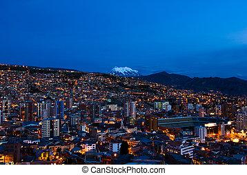 全景, paz, 玻利維亞, 夜晚, la