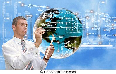 全球化, 連接, 網際網路, technology.
