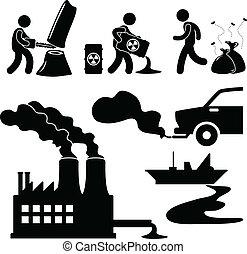 全球变暖, 污染, 绿色, 图标