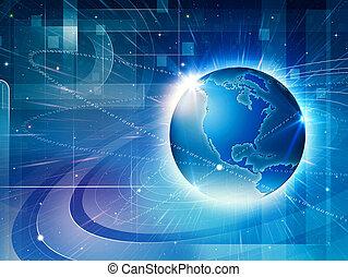 全球, 信息, network., 摘要, techno, 背景
