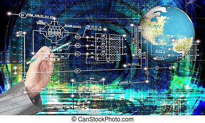 全球, 創新, 電腦, 因特網技術, 為, 事務