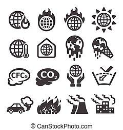 全球, 图标, 温室效应, 暖和