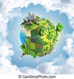 全球, 概念, 在中, 田园诗, 绿色, 世界