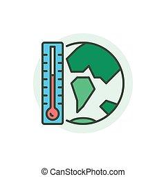 全球, 概念, 暖和, 图标