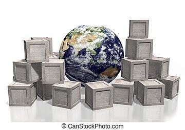 全球, 概念, 運輸, 3d