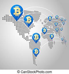 全球, 概念, bitcoin, 事務