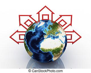 全球, 由于, 家, 大約, 在懷特上, 背景